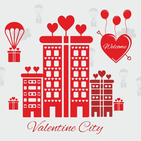 Valentine city vector design Vector illustration.