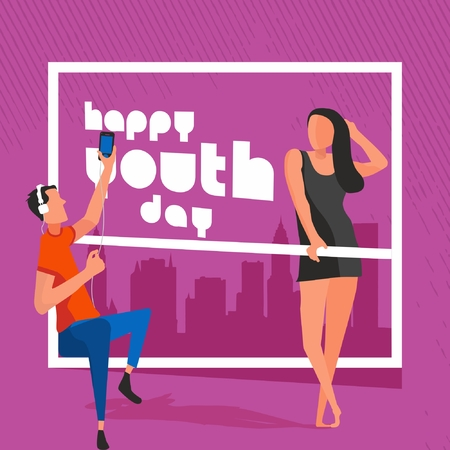 Happy Youth Day Celebration with young Boy and Girl Illustration