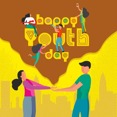 Happy Youth Day Celebration with young Boy and Girl 版權商用圖片 - 109987417