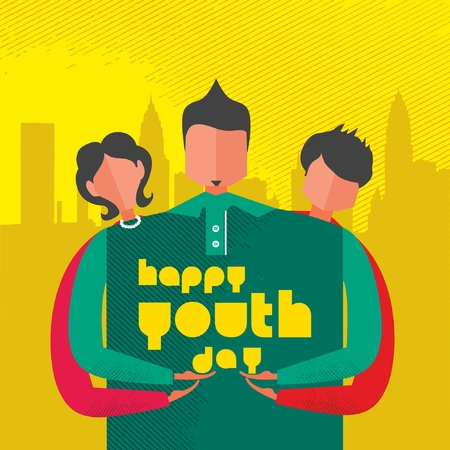 Happy Youth Day Celebration with young Boy and Girl 向量圖像