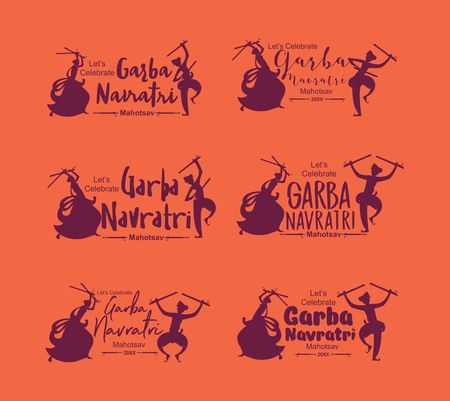 Navratri Garba dance Silhouette