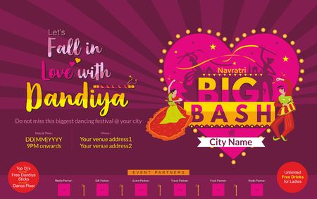 Big Dandiya invite template for young couples and family member on this navratri festival Illustration