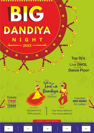 Big Dandiya invite template for young couples and family member on this navratri festival 版權商用圖片 - 109987429