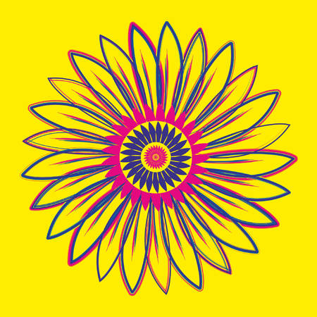 Sun flower style grunge decorative design art 向量圖像