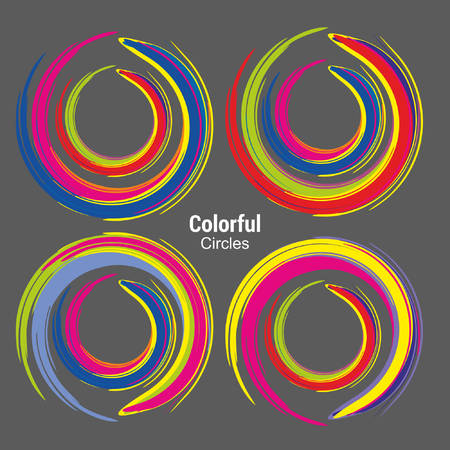 Abstract Colorful Circles for technology communication design 向量圖像