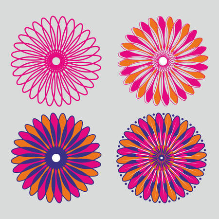 Four set of floral design art