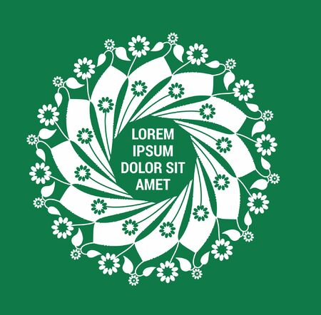 A Floral circular template in green color