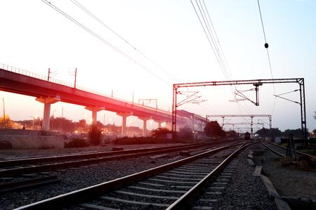 Beautiful view of Railroad track near metro station located in new Delhi, India. Фото со стока