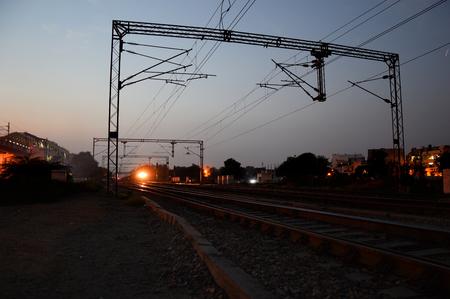 Railroad station at night.