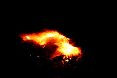 Burning fire at night.