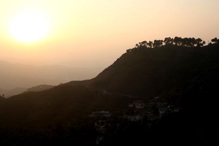 Beautiful sunrise in mountain range.