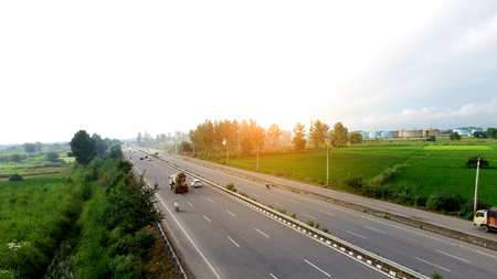 Highway elevated view in rural area the shot is taken using drone camera.