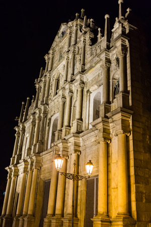 st pauls: The Ruins of St. Paul`s in Macao, Night time without people