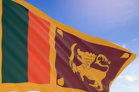 srilanka: 3D rendering of Sri Lanka flag waving on blue sky background, Sri Lankas Independence Day is celebrated on 4th of February
