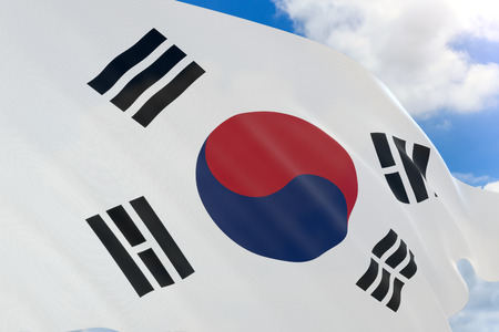 3D rendering of South Korea flag waving on blue sky background, Independence Movement Day This day commemorates the March 1st Movement in 1919. They declared their nations independence in Seoul.