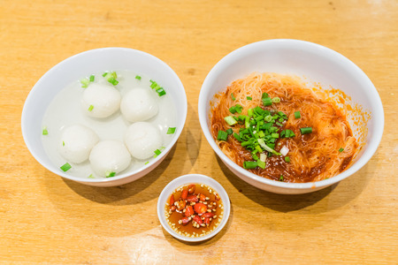 Hearty meal of Teowchew Fishball noodles for light eater, Fishball noodles Made exclusively of fish paste and moulded into balls or fishcake slices