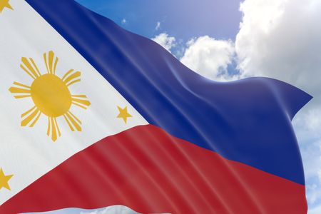 3D rendering of Philippines flag waving on blue sky background, Independence Day is an annual national holiday in the Philippines observed on June 12
