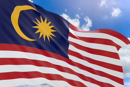 3D rendering of Malaysia flag waving on blue sky background, Hari Merdeka is Malaysian Independence Day celebrates on 31 August annually Stock Photo