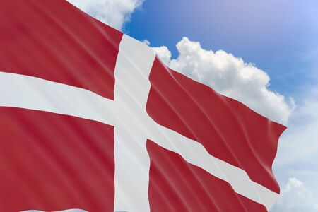 3D rendering of Denmark flag waving on blue sky background, Constitution Day observed on 5 June, This day is also Fathers Day in Denmark.