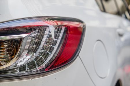 shiny car: Focus closeup of Car rear light, Detail of modern car rear lamp white color