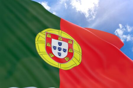 3D rendering of Portugal flag waving on blue sky background, Portugal is a southern European country, bordering Spain, Portugal Day, officially Day of Portugal celebrated annually on 10 June