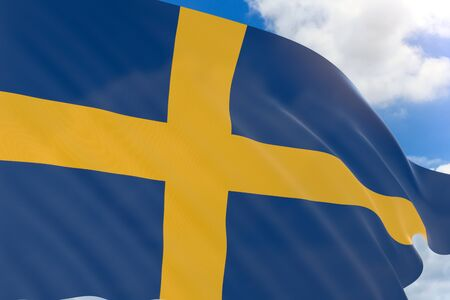 3D rendering of Sweden flag waving on blue sky background, Sweden is a Scandinavian nation in Europe, National Day of Sweden is a national holiday observed in Sweden on 6 June every year