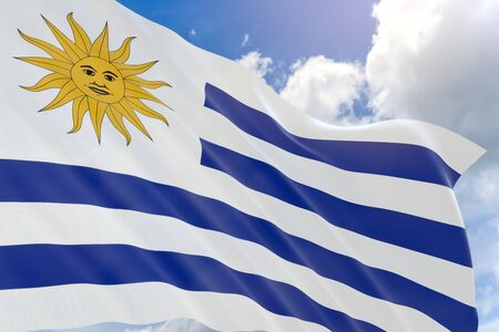 3D rendering of Uruguay flag waving on blue sky background, Uruguay is a South American country known for its verdant interior, Uruguay celebrates Independence Day as a public holiday on August 25