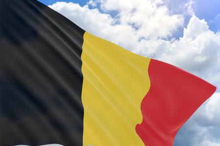 毎年 7 月 21 日に祝われるベルギー南部オランダ、ベルギーの国民日として以前知られている、青い空を背景に手を振る旗はお祝い祝日の 3 D レンダ
