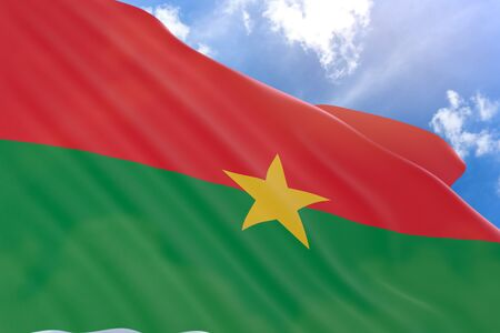 3D rendering of Burkina Faso flag waving on blue sky background, Haute-Volta (as Burkina Faso was called) gained it independence on August 5, 1960. Celebrated as National Day and Public Holiday every year on Fifth of August Stock Photo