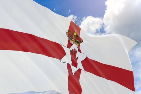 푸른 하늘 배경에 흔들며 북 아일랜드 깃발의 3D 렌더링, 북 아일랜드는 영국의 일부입니다. 국가는 노르만 성으로 유명합니다. 축구 팀에 일반적으로