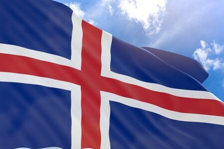 3 D アイスランドの国旗は青い空を背景に手を振るをレンダリングするアイスランドはヨーロッパの北欧の島国、アイスランドのナショナルデーは、 写真素材