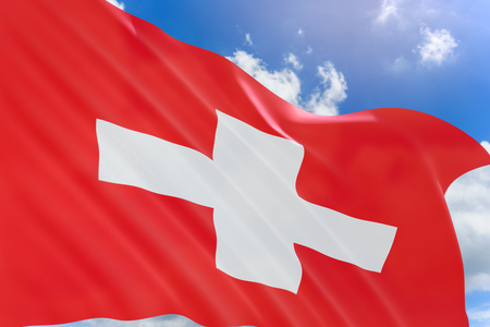3D rendering of Switzerland flag waving on blue sky background, Switzerland is a mountainous Central European country, The Swiss National Day is the national holiday of Switzerland on 1 August