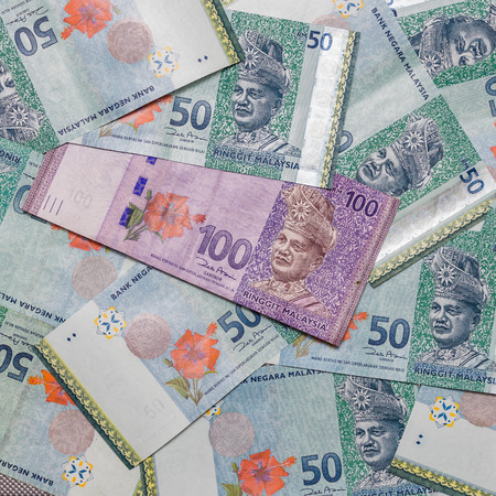 Malaysian Ringgit currency on pattern background, symbol RM currency code MYR