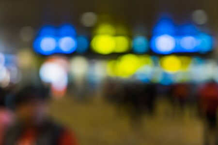 Bokeh abstract background of the departure hall Changi Airport Singapore, Blurry motion of airport interior, Transportation texture background Stock Photo