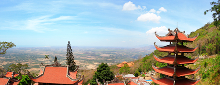 Panorama view of Pagoda of Nirvana Buddha on Ta Cu mountain in Vietnam, It was formed on October 26, 1996 in Tan Lap commune, Ham Thuan Nam district, about 30 km South East of Phan thiet.