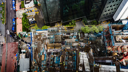 Top view of Construction site area in Kuala Lumpur, Malaysia with Miniature tilt shift lens effect