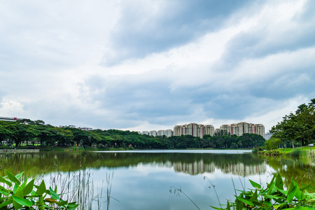 Beautiful lake view of Punggol Park in Singapore, garden side of river, Punggol Park with blue sky and nice cloud