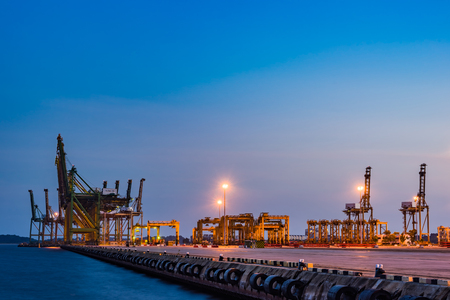 Singapore Industrial port dusk, Container Industrial Port, Harbor in Singapore, Logistic concept