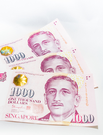 Singapore Dollar Isolated, Banknote Singapore on White background, The Singapore dollar is the official currency of Singapore