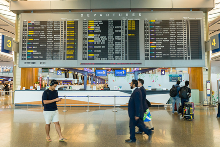 Singapore - January 6, 2018: Departure Board in Changi Airport. Departure Hall Singapore. It has 3 passenger terminals, and it is one of the largest transportation hubs in Asia