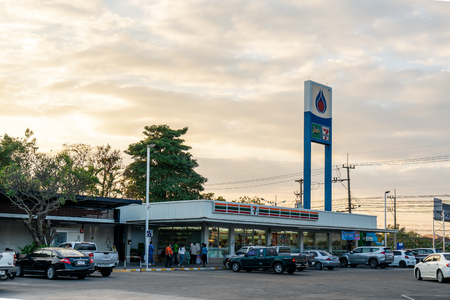 Khon Kaen, Thailand - December 24, 2017: View of Gas station with clouds and blue sky in evening time, Thai petrol pump in the rural area Publikacyjne