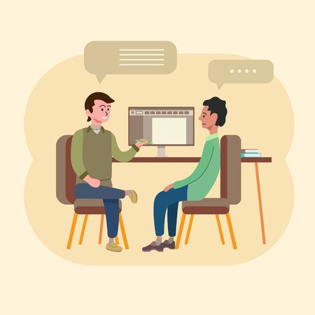 manager and employee interview meeting and discussion Illustration