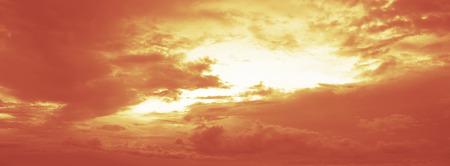 Fiery orange sunset sky panorama