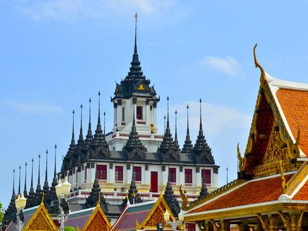 Iron temple Loha Prasat in Wat Ratchanatdaram Bangkok Thailand Stock Photo