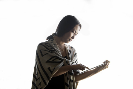 women  portrait use tablet computer on white background
