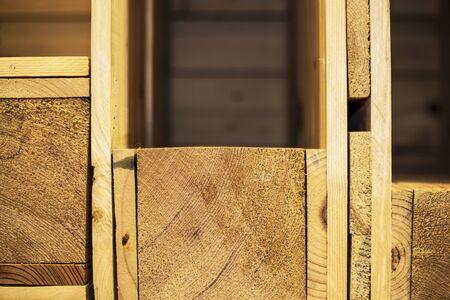 Empty three wood shelf on wood decorative wall close up