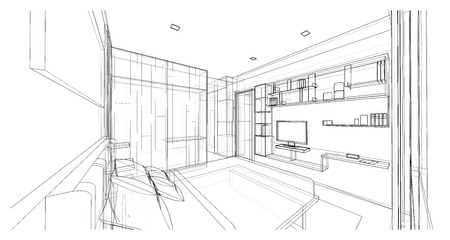 wire frame: Interior design of modern style bedroom, 3D wire frame sketch, perspective