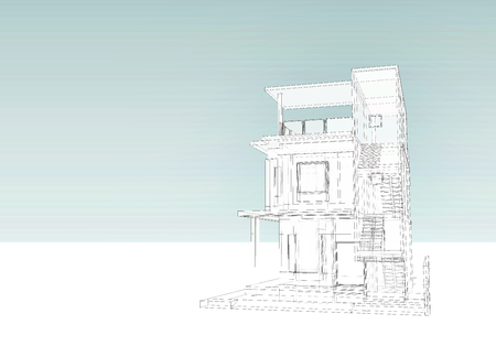 prefabricated: 3 story building wire frame sketch with blue sky background, architectural design, 3D rendering