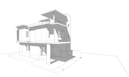 prefabricated: 3 story building sketch with shade and shadow, architectural design, 3D rendering