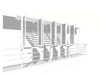 lath in modern: Shade and shadow, sunshade of building, louver and battens, 3D wire frame sketch